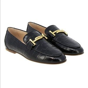 Double T Tod's loafers in crocodile print leather